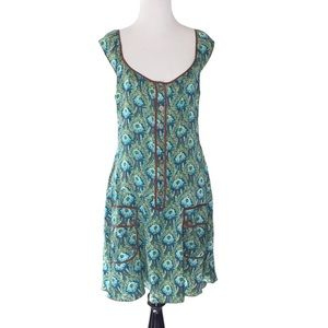Free People Silk Floral Retro Shift Dress Size 6